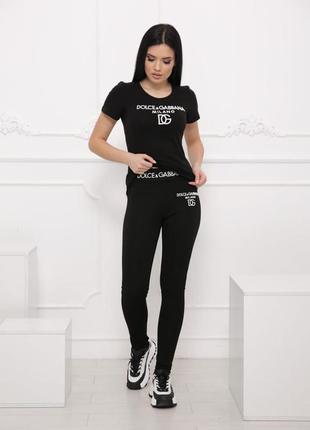 Практичный костюм лосины+футболка, р. s,m,l,xl, коттон, черный