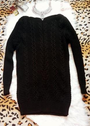 Черный длинный шерстяной вязаный свитер крупная вязка туника к...