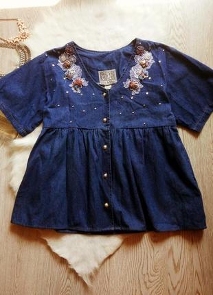 Рубашка накидка кардиган джинсовый со стразами цветами кармана...