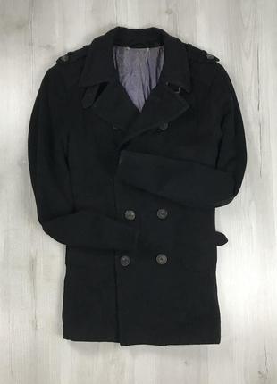 F9 пальто удлиненное темное черное двубортное приталенное шерс...
