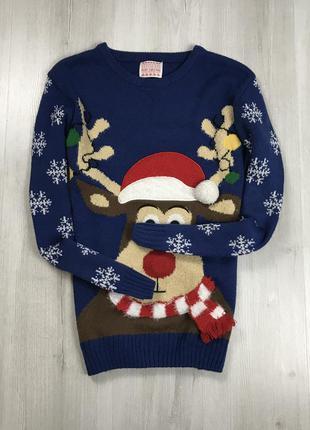 F7 свитер вязаный рождественский праздничный зимний с оленем с...
