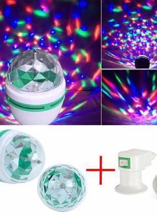 Диско лампа светильник вращающаяся светодиодная 3Вт + Сетевой Ада