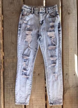 🔥🔥🔥стильные рваные женские джинсы мом denim co🔥🔥🔥