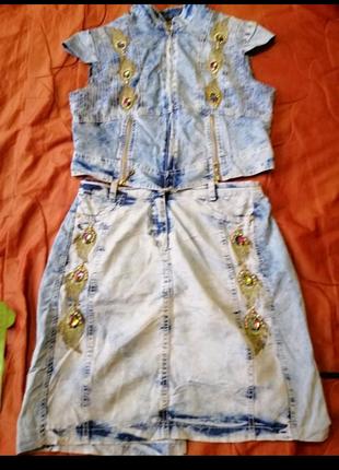 Шикарный джинсовый костюм