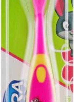 "Зубная щетка ""Kids"", розово-желтая Astera Extra Soft"