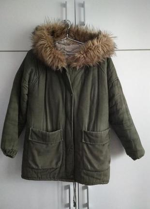 Зимняя,теплая зеленая парка ,куртка  хакки