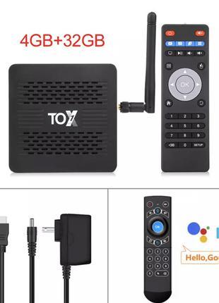 Tox1 4/32 SlimBox Android ТВ Приставка НАСТРОЕНА Smart TV Box