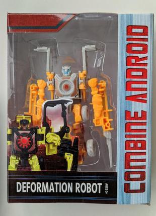 Игрушка трансформер для мальчиков тобот желтый синий красный