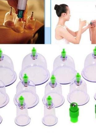 Банки вакуумные для массажа 24 штуки с насосом