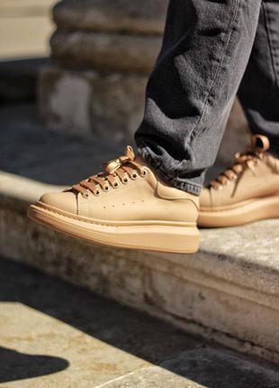 Распродажа! женские кожаные кроссовки mcqueen beige