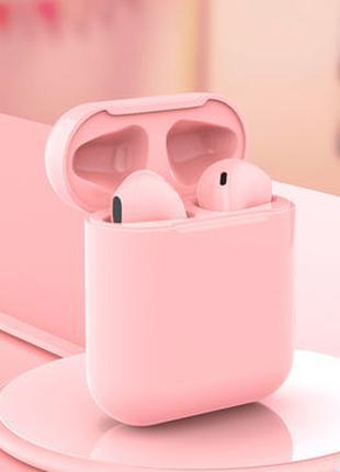 Беспроводные наушники Inpods Macaron 12 сенсорные  Розовые