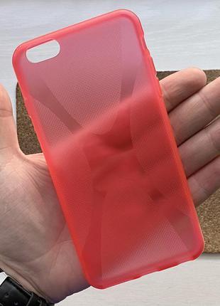 Чехол красный чохол на для айфон iphone 6 + s plus плюс силико...