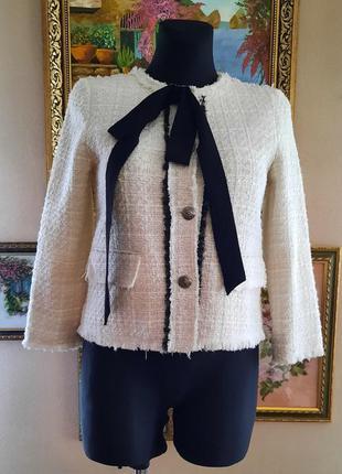 Твидовый жакет/пиджак с люрексом zara размер xs-s