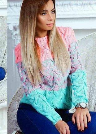 Кофта свитер вязаный коса