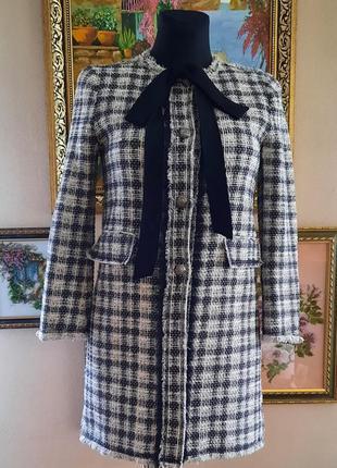 Твидовый пиджак/жакет zara размер xs-s