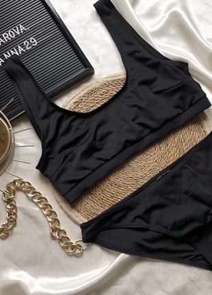 Чёрный купальник h&m  размер: 44(85c) низ 42(l)