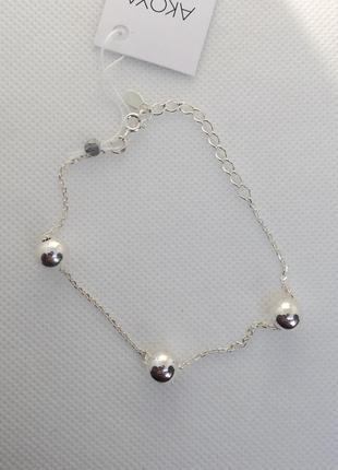 Новый серебряный браслет шарики 17,0-20,0 см серебро 925 пробы