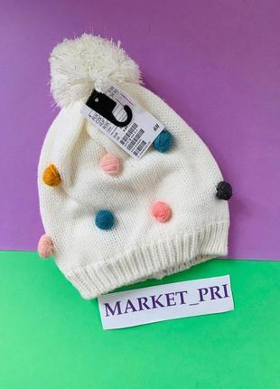 Вязаная шапка hm для девочки с помпоном