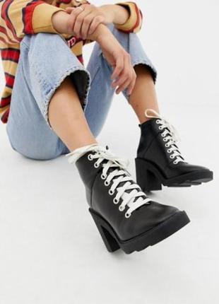 Ботинки asos, натуральная кожа, тупой носок, тренд 2019-2020