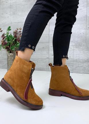 Замшевые ботинки с молниями на низком каблуке,зимние ботинки и...