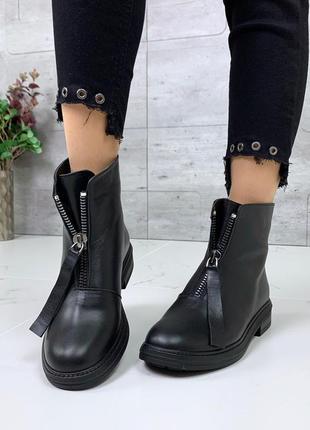Кожаные ботинки с молниями на низком каблуке,зимние ботинки из...