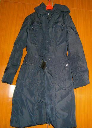 Черное теплое пальто-куртка 48р