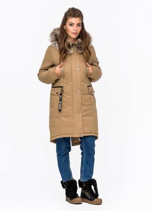 Зимняя женская коттоновая куртка парка с натуральным мехом беж...