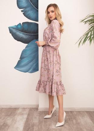 Арт: 12518_розовый розовое принтованное платье с жаткой. арт: ...