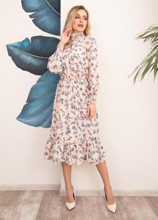 Арт: 12519_розовыйрозовое принтованное платье с жаткой, арт: 1...