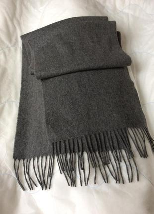 Серый шарф кашемир шерсть
