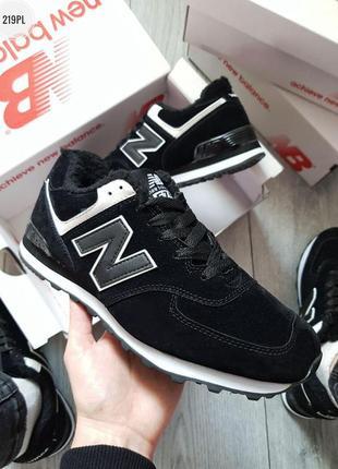 Зимние new balance 574 black. кроссовки нью беленс чёрные зима...