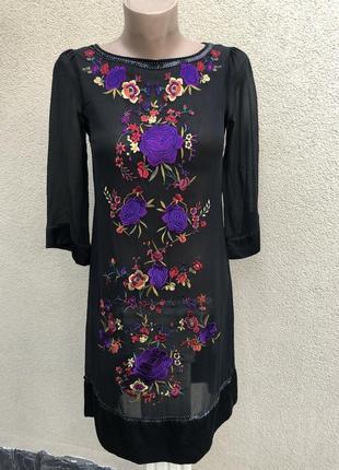 Легкая шёлк туника,платье с вышивкой,пайетки,этно стиль,малень...