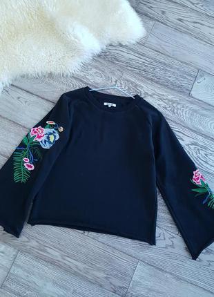 ❄ новогодняя разпродажа ❄свитшот с широкими рукавами и вышивкой