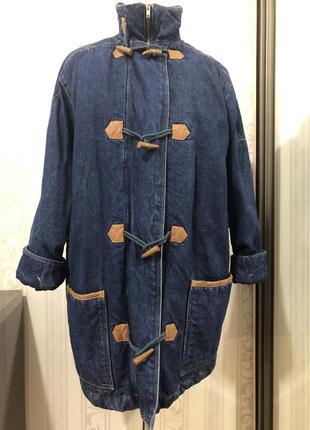 Джинсовая тёплая винтажные куртка