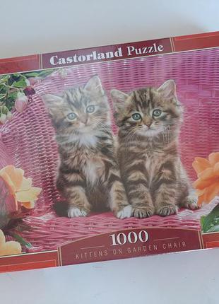 Пазлы детские котики 1000 пазлы-мозайка игра настольная