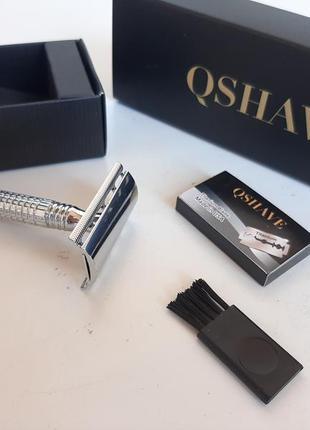 Qshave, бритвенный станок для бритья бабочка с длинной ручкой