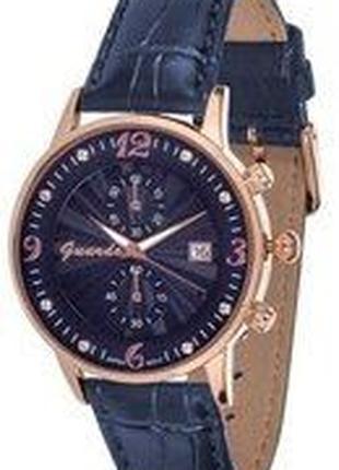 Стильные часы Guardo Italy, кожаный синий ремешок