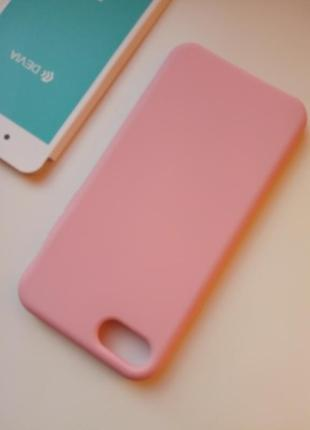 Новенький розовый Чехол для на iPhone 7 (силикон + микрофибра)