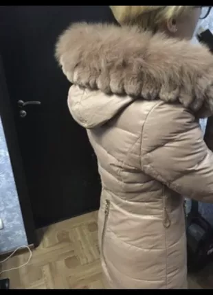 Пуховик зимний с мехом кролика