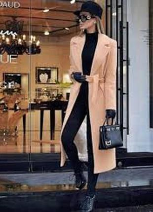Шикарное кашемировое длинное  пальто
