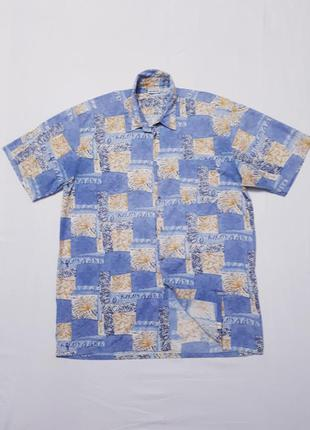 Рубашка с короткими рукавами шведка с тропическим принтом боль...
