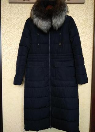 Супер теплое пальто, парка, пуховик на тинсулейте с серебристо...