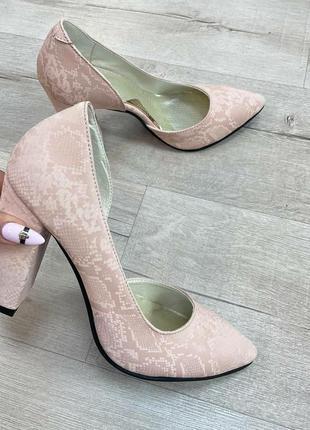 Дизайнерские туфли питон пудра кожа