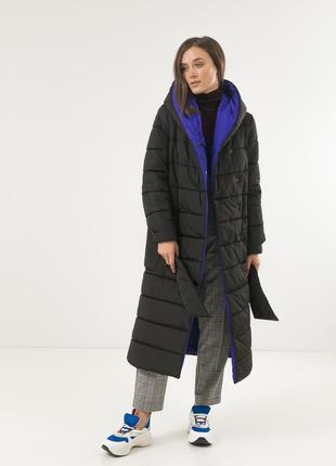 Пуховое пальто с капюшоном season черного цвета