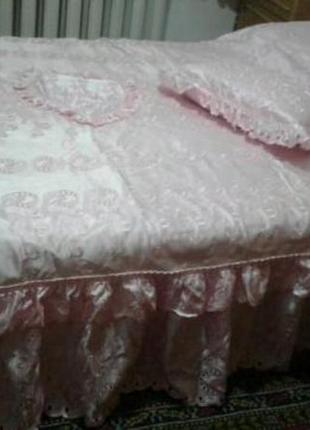 Покрывало-компдект для спальни, красивое нарядное