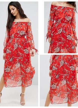Шикарное шифоновое платье с открытыми плечами river island
