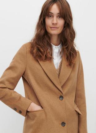Актуальное пальто бежевое с добавлением шерсти