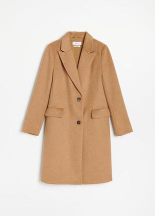 Пальто бежевое с добавлением шерсти