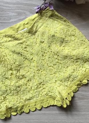 Красивые кружевные шорты лимонного цвета высокая посадка м
