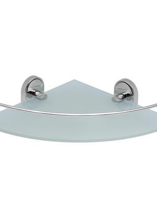 Полка в ванную комнату угловая Lidz стеклянная Полочки для ванной